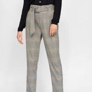 NWT Zara Plaid Paperbag Pants
